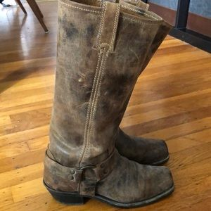 Frye 15R leather harness knee boots